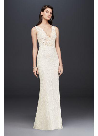 David Bridal Sample Sale Fresh Plunging Illusion Bodice Lace Wedding Dress