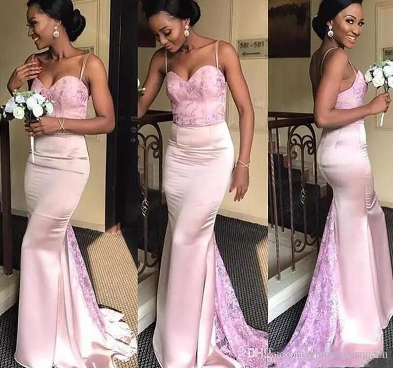 pale pink mermaid bridesmaids dresses for