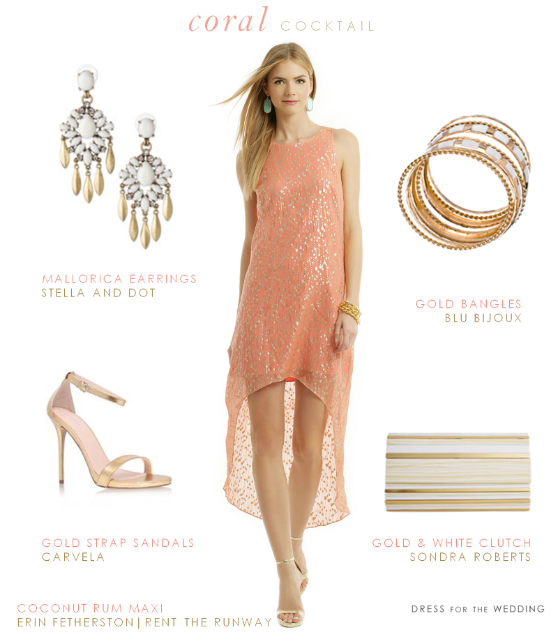 Designer Dresses for Wedding Guests Unique Coral and Gold Dress for A Cocktail Hour Wedding Reception