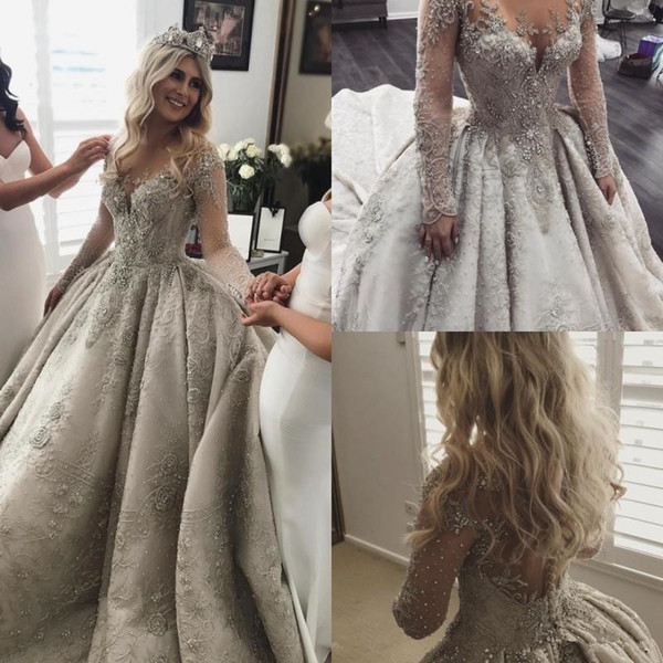 Discount Ball Gowns New Discount Long Sleeves Lace Ball Gown Wedding Dresses Rhinestone Jewel Neck Vintage Wedding Dress Full Beads Applique Ball Gown Bridal Gowns Princess