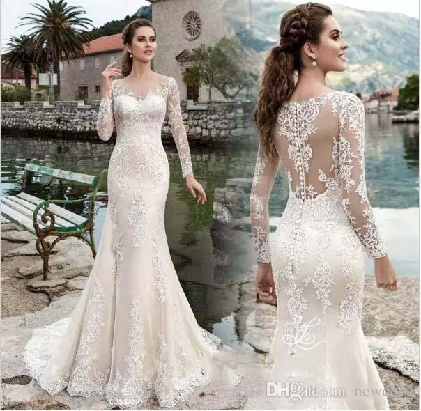 2019 new design wedding dresses v neck long