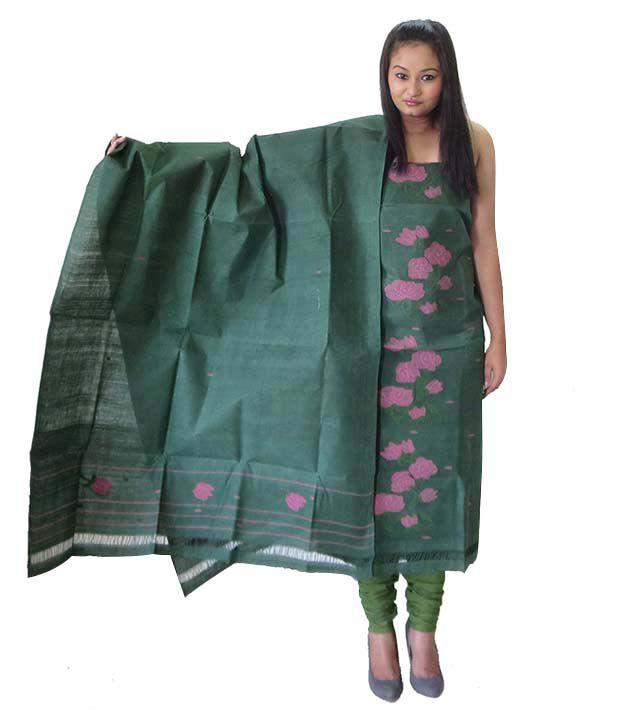 Manipuri Green Cotton Handloom Dress SDL 1 f0fef