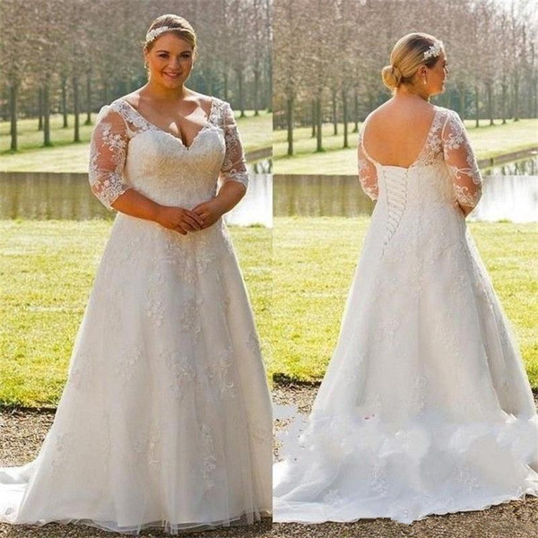 Discount Plus Size Wedding Dresses Lovely Discount Plus Size Wedding Dresses 2019 New V Neck Lace Up 3 4 Long Sleeve Sweep Strain Country Garden Wedding Gowns Bridal Dress Princess Wedding