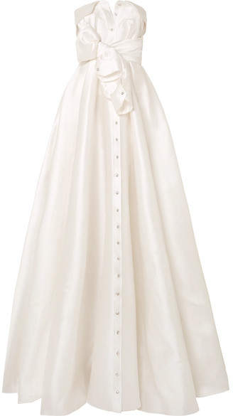 Alexis Mabille Bow detailed Embellished Satin twill Gown White