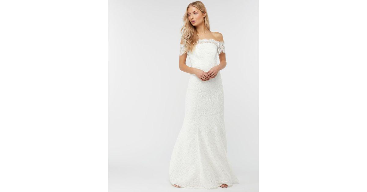 monsoon designer IVORY Sophie Lace Bardot Maxi Wedding Dress
