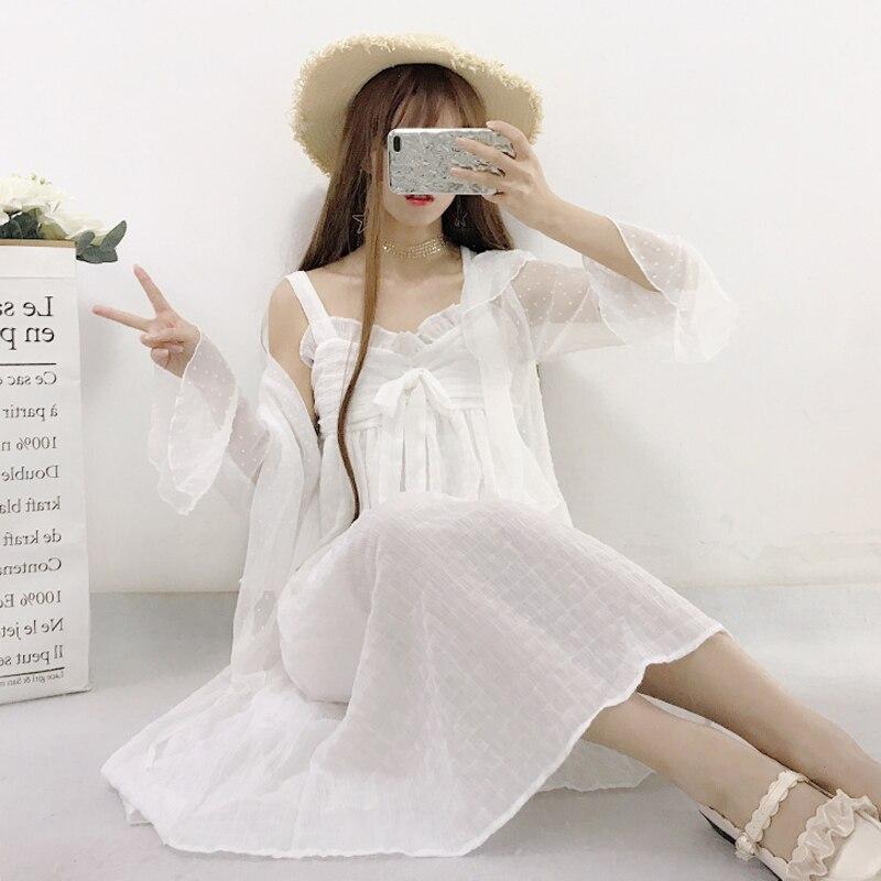 2 Pcs Suit Summer New Women Korean Fresh Chiffon Ruffles Shawl Long T Sweet Fashion y