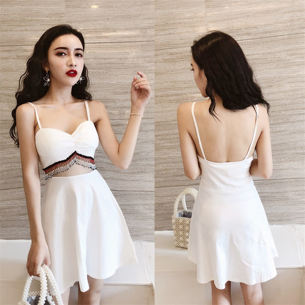 Dress Back Awesome 2019 Dropship&whosesale S M L Sling Dress Skirt with A Shoulder Bare Back Open Back Sling Dress with Shoulder Exposed E Piece Dress From Dhmart