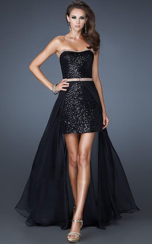 Dress Back Awesome Short Front Long Back Black Sparkly Prom Dress