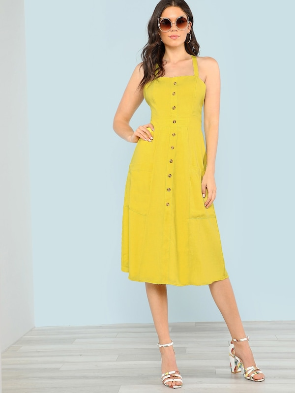 Dress Back Luxury Crisscross Open Back button Up Dress