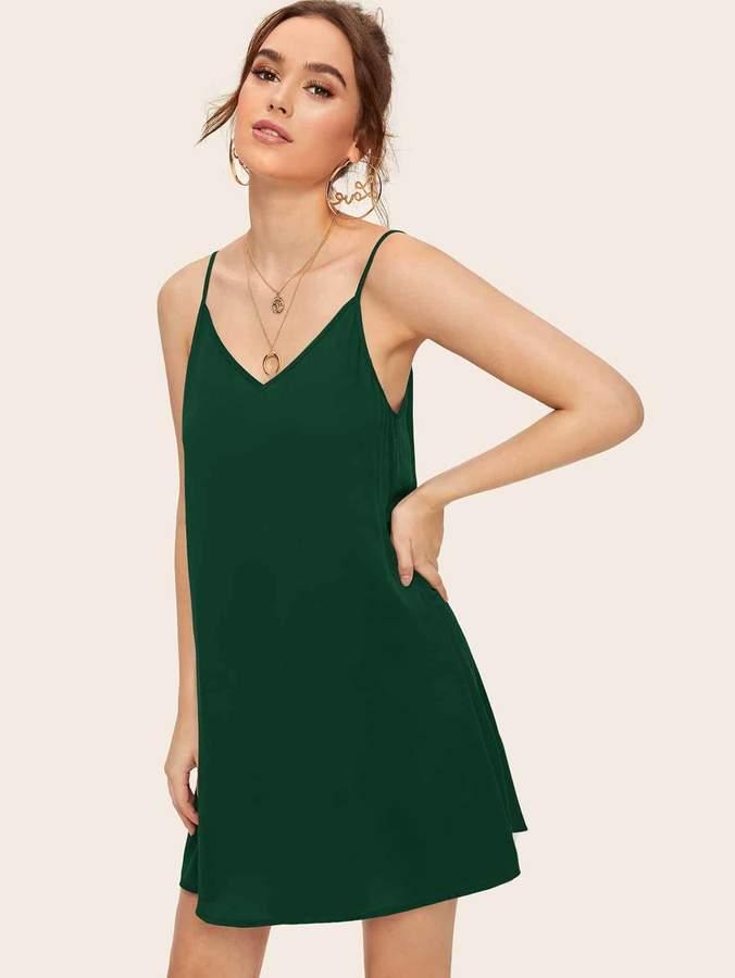 Shein Solid Strappy Back Slip Dress