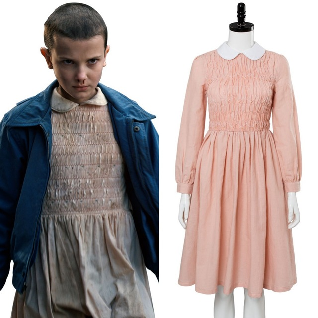 Super Popular Stranger Things Cosplay Eleven Millie Bobby Brown Cosplay Costume Dress Adult Millie Bobby Brown Costume Halloween Carnival 4g0D wie0