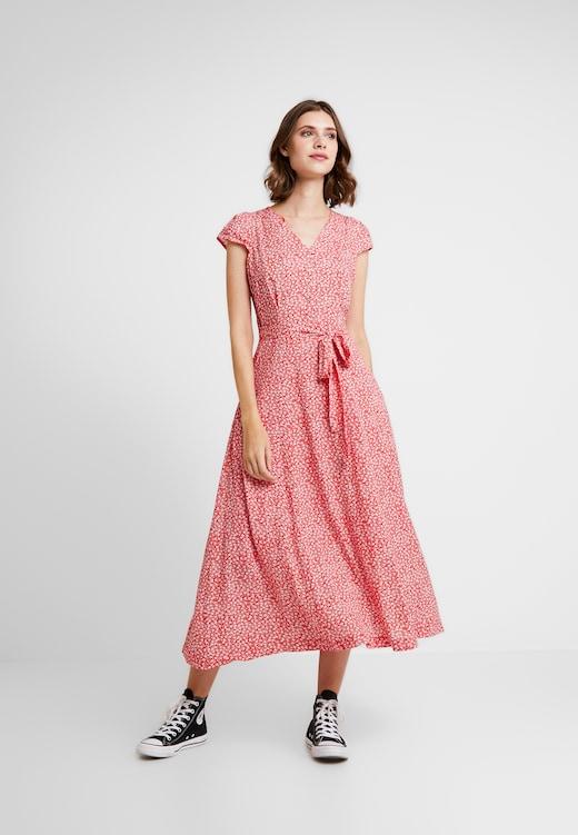 Dress Details Elegant Waist Detail Midi Dress Freizeitkleid Red
