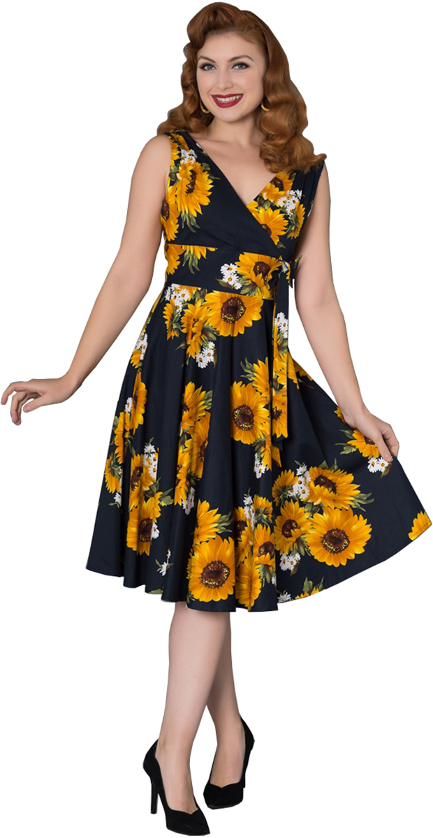 Sheen ELLA Vintage SUNFLOWER Sonnenblumen Traeger SWING Dress Kleid 15cf b7
