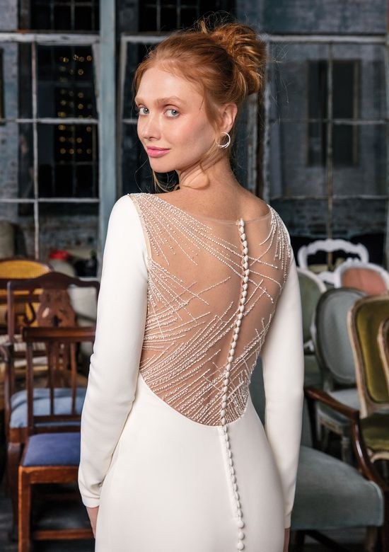 Dress Details Luxury Style Crepe Gown with Illusion Beaded Back Detail
