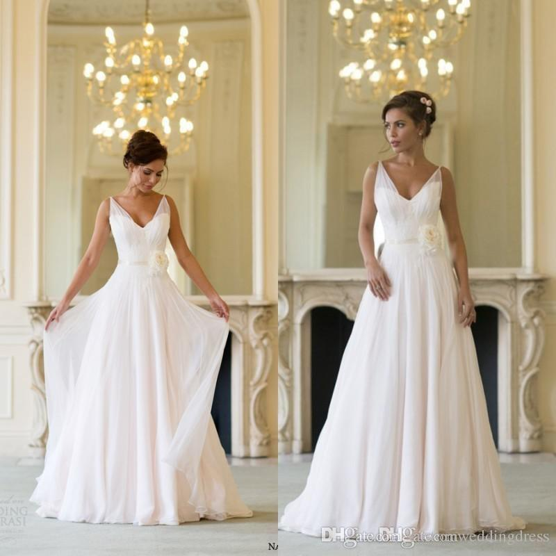 Dresses for Beach Wedding Lovely Naomi Neoh 2018 Greek Style Wedding Dress V Neck Chiffon Summer Beach Wedding Gowns with Handmade Flower Grecian Bridal Dress