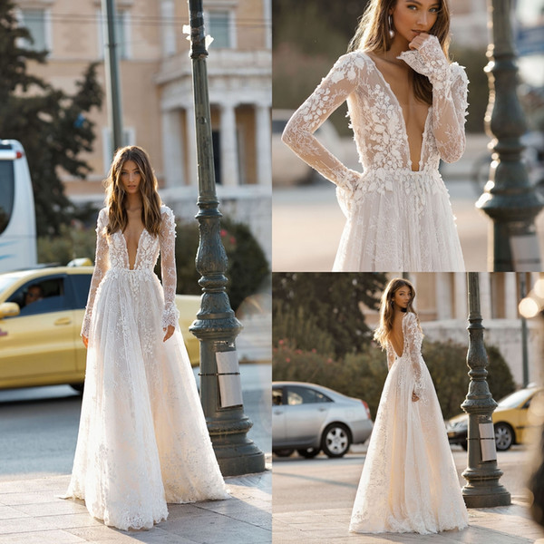 Dresses for Beach Wedding New Discount Berta 2019 A Line Beach Wedding Dresses Long Sleeve Sheer V Neck Lace Appliqued Bridal Gowns Sweep Train Tulle Boho Casual Wedding Dress