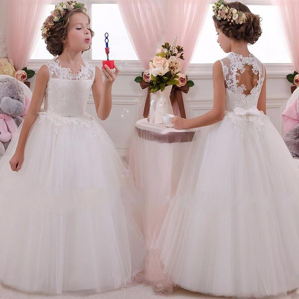 Dresses for Fall Wedding Elegant Kids Flower Girl Dress Baby Girls Lace formal Princess Pageant Wedding Birthday Party White Bridesmaid Dresses Tea Length 5 14years Styles Dress Fall