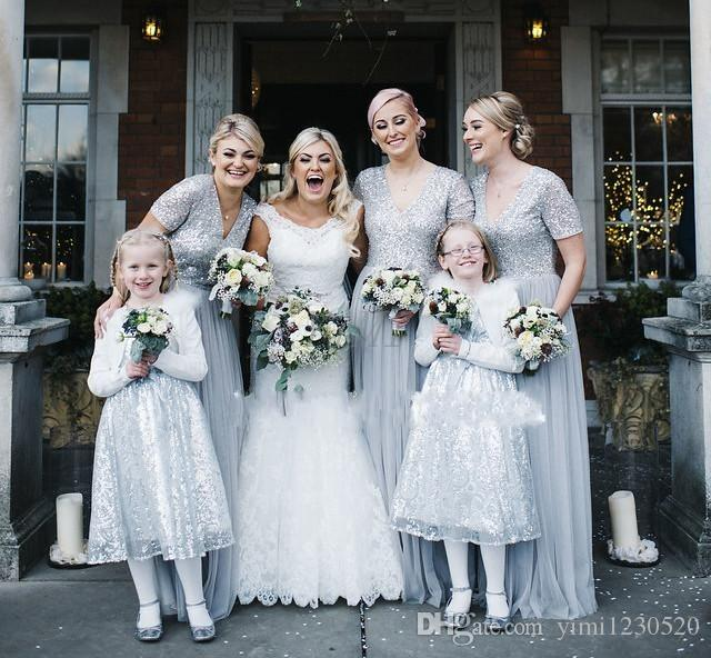 Dresses for Outdoor Wedding Guests Fresh Sequined Silver Country Bridesmaid Dresses 2019 V Neck Short Sleeve Floor Length Garden Wedding Guest Gowns Maid Honor Dress Cheap