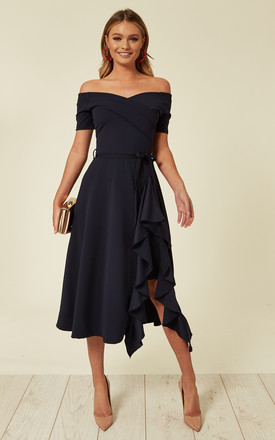 Dresses for Outdoor Wedding Guests Luxury Bardot F Shoulder Frill Midi Dress Navy by Feverfish Product Photo
