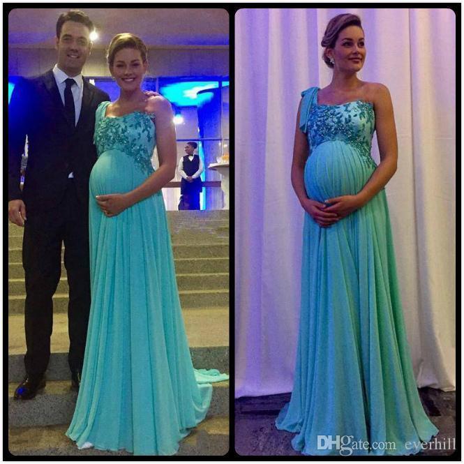 one shoulder pregnant women long evening