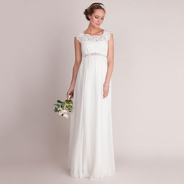 Ivory Silk Eyelash Lace Maternity Wedding Dress 600x600