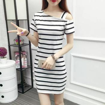 Dresses for Small Chest New Summer Womens Striped Dress Short Sleeve F Shoulder Slim Y Long Dress for Women