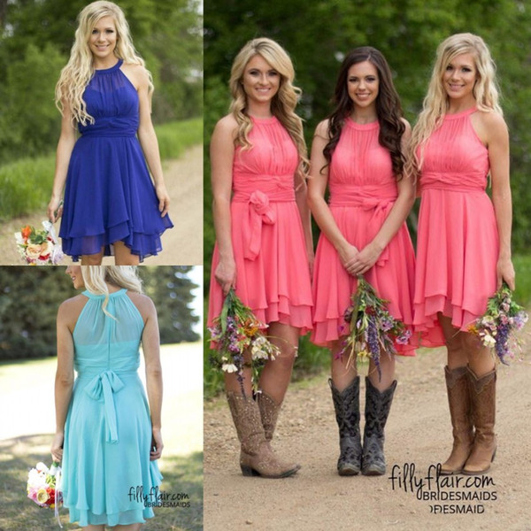 Dresses for Spring Wedding Guest Inspirational 2019 Cheap Country Short Bridesmaid Dresses Coral Sky Blue Modest Wedding Guest Gowns Knee Length Bridesmaids Dress Maid Honor Cps575 formal