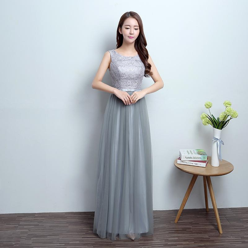 banquet evening dress polyester fiber long