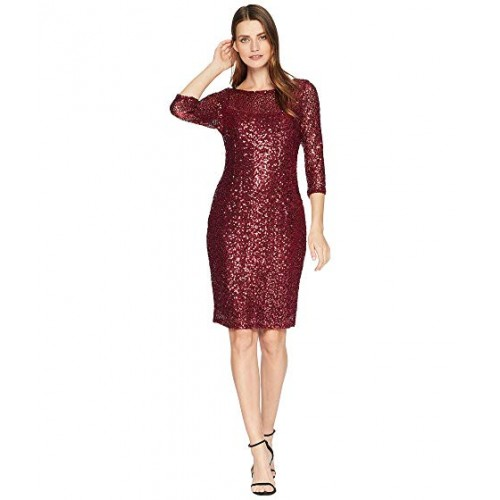 marina short slim sequin dress with 34 sleeves and v back gunmetal women dr 1296 500x500