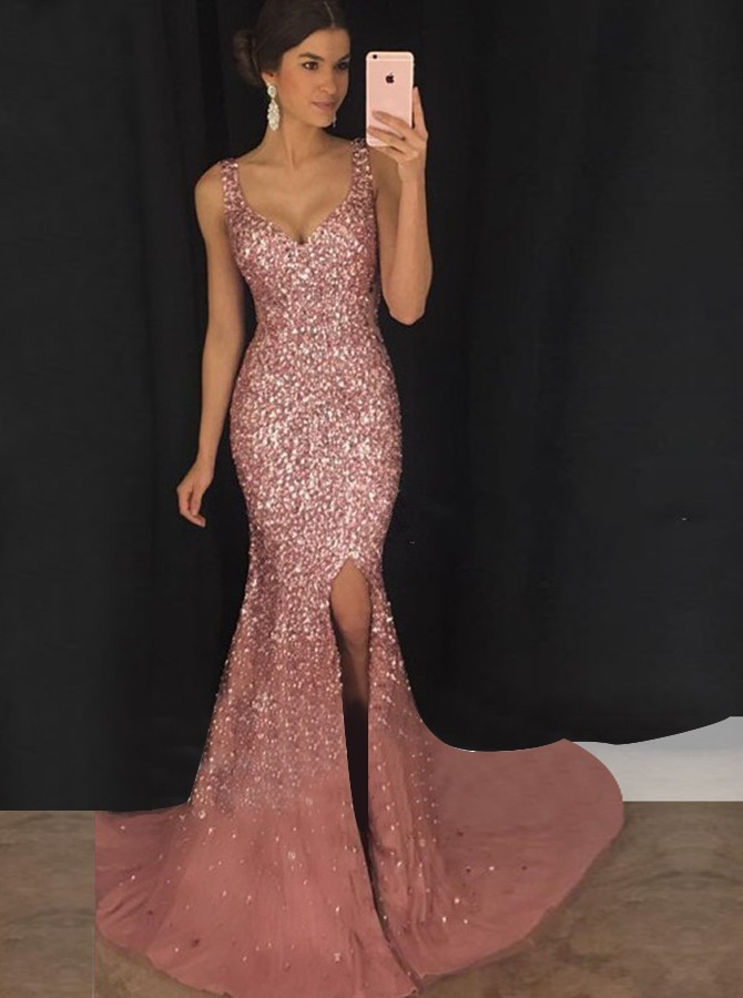 Dresses that Slim Inspirational 2019 Women Y Deep V Strap Dress Slim Long Sequined Dress
