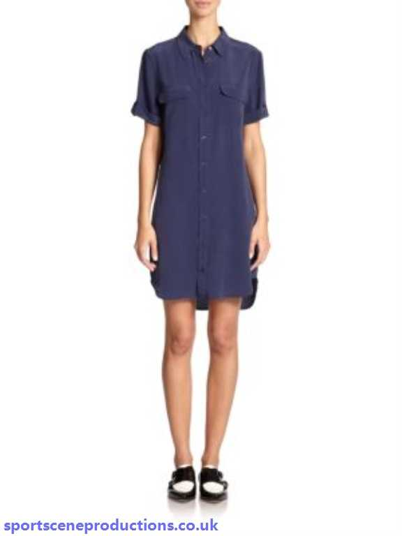 slim signature silk shirtdress peacoat equipment day 0D