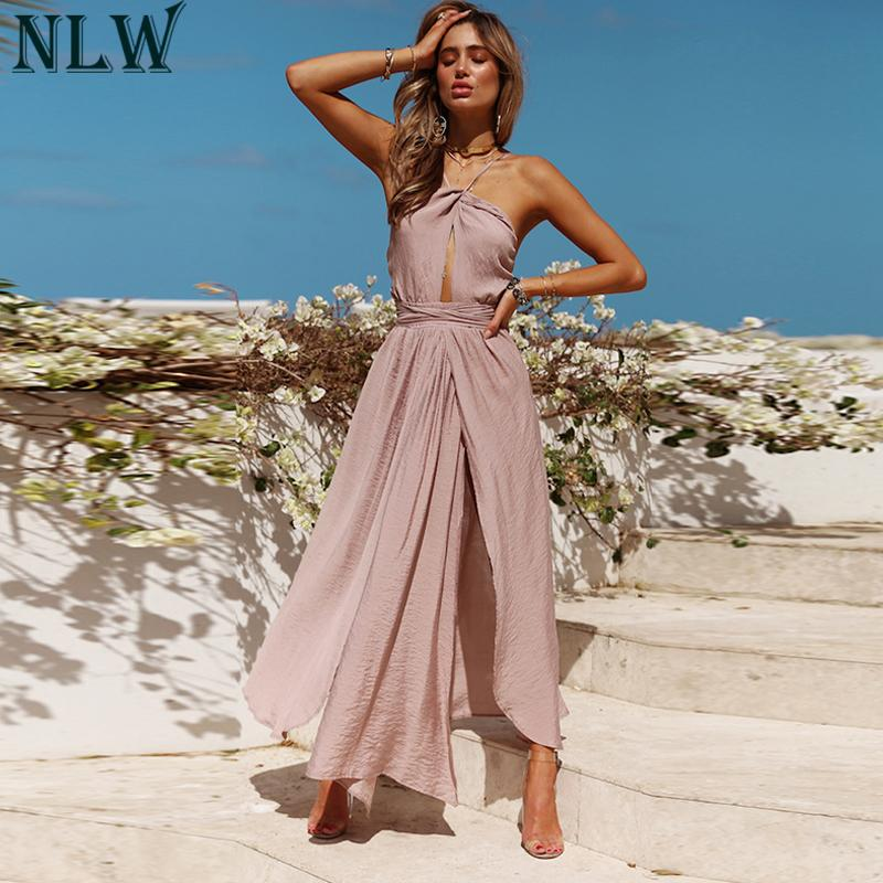 Dresses to attend A Summer Wedding Awesome wholesale Women Y Halter Maxi Dress 2018 Summer Backless Wrap Dress Female solid Elegant Dresses Lady Beach Party Wedding