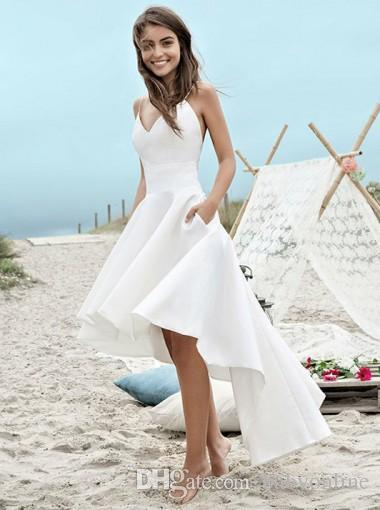 Dresses to attend A Summer Wedding Fresh Discount Cheap Under $100 Summer Wedding Dresses 2018 A Line Beach Boho Bridal Gowns High Low Backless Spaghetti Straps Holiday Gowns Wedding Dresses