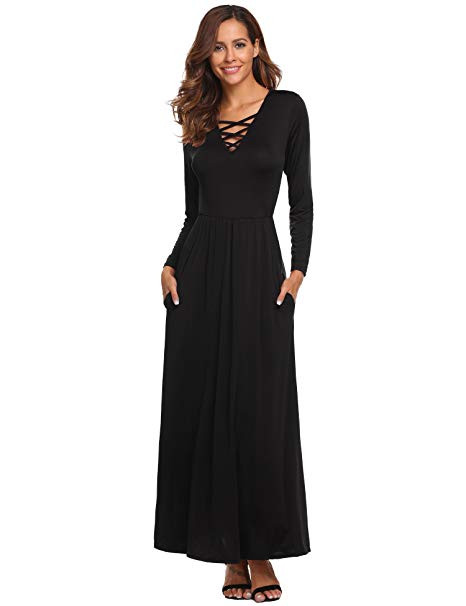 nice dresses to wear to a wedding fresh od lover women s maxi dress casual long sleeve criss cross v neck of nice dresses to wear to a wedding