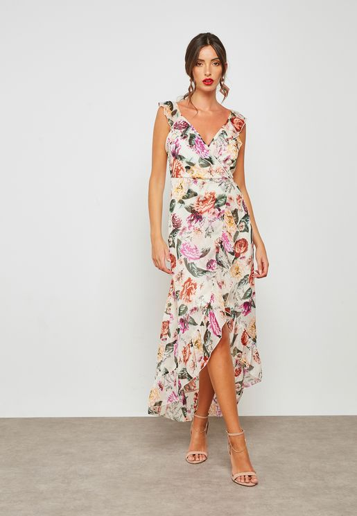 Dorothy Perkins floral print ruffle wrap maxi dress dhs245