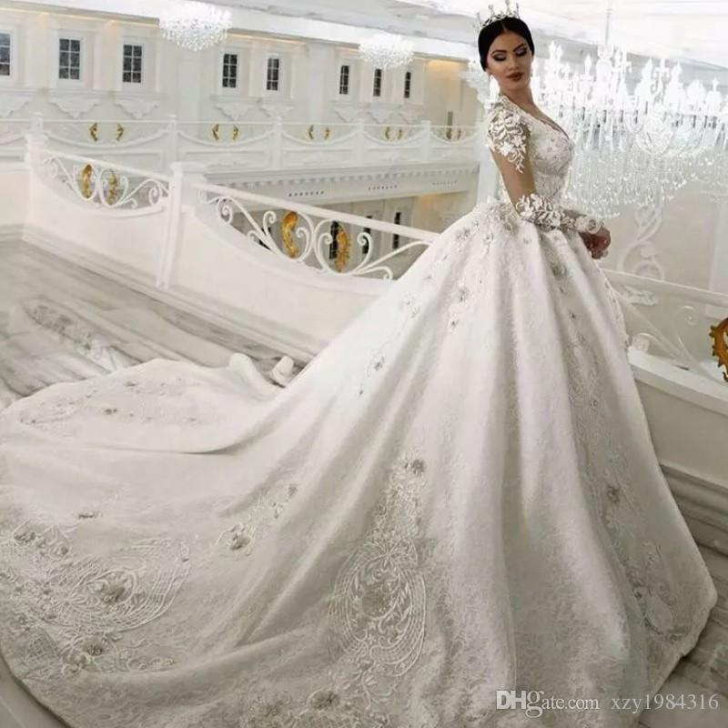 crystal beaded lace ball gown wedding dress