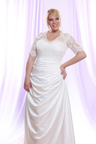 satin wedding gowns with sleeves new silk satin plus size wedding dress w long sheer illusion lace