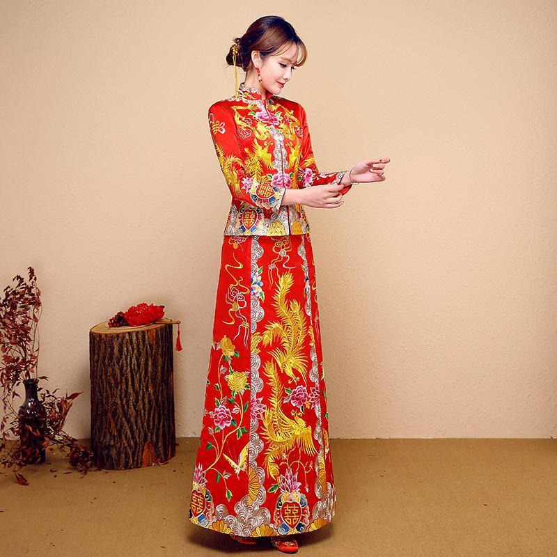 hyg368 red bride cheongsam grain fashion