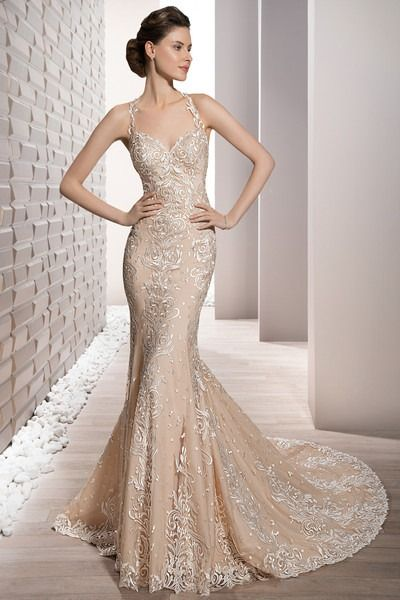 form fitting lace wedding dresses best of embroidered venice lace adorns this form fitting sheath halter gown