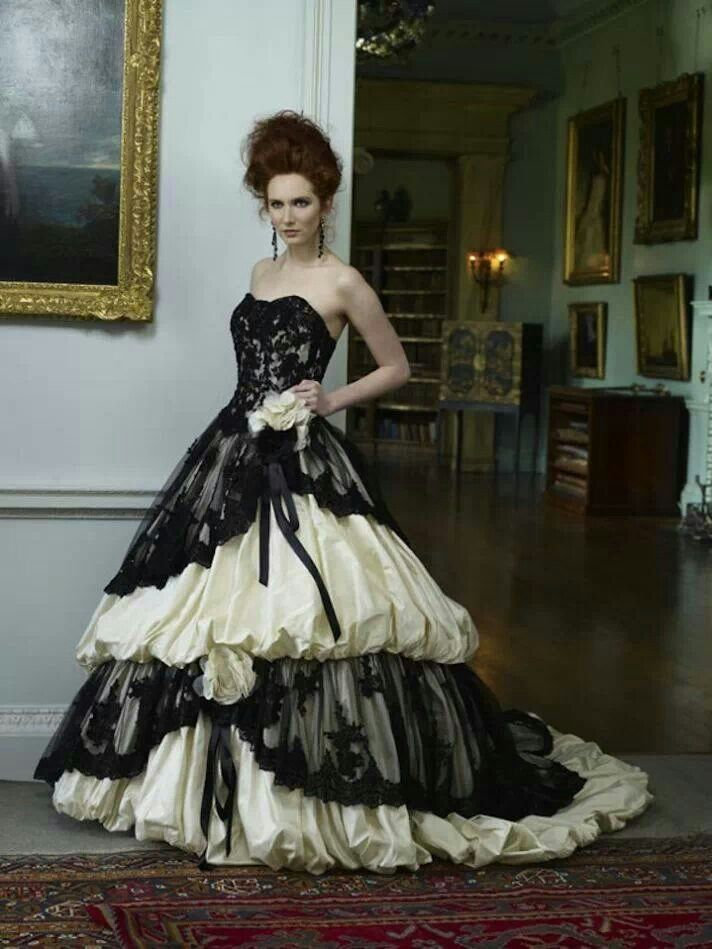 Emo Wedding Dresses New Black and White Goth Wedding Gown