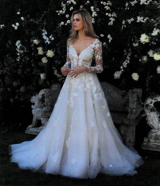 eve of milady v neck long sleeve beaded applique wedding dress 516x600