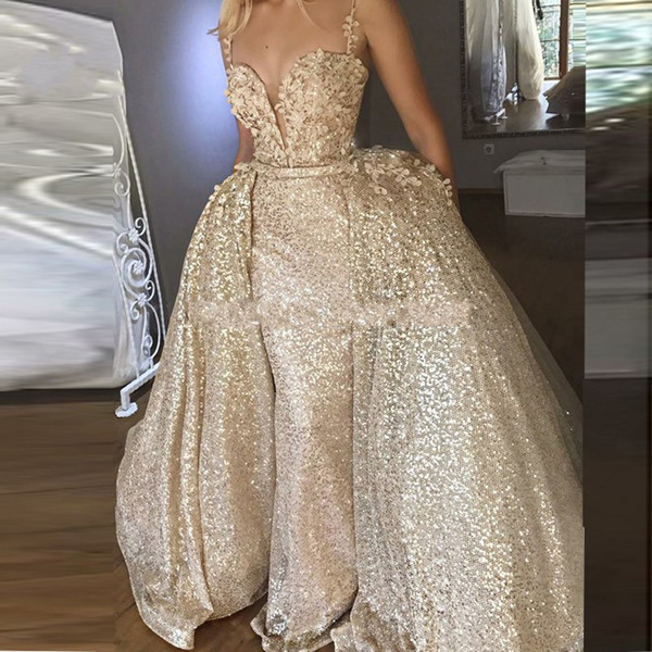 Expensive Gowns Unique 2019 Expensive Golden Prom Dresses with Detachable Train Spaghetti V Neck Backless 3d Flowers Party evening Gowns formal Dress Long Fashion Custom