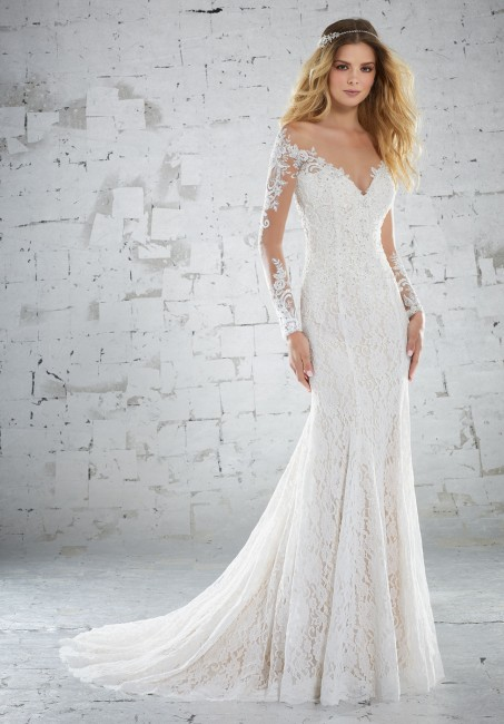 mori lee 6888 karolina long sleeve fit and flare beach wedding dress 01 287