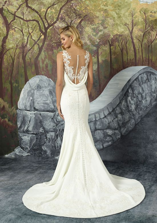 Fit and Flare Dress Wedding Dress Lovely Style 8923 Crepe Fit and Flare Wedding Dress with attached