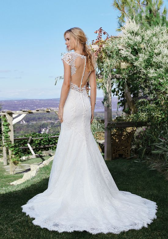 Fit and Flare Wedding Dress Best Of Style 6437 Lace Cap Sleeve Fit and Flare Gown with Open