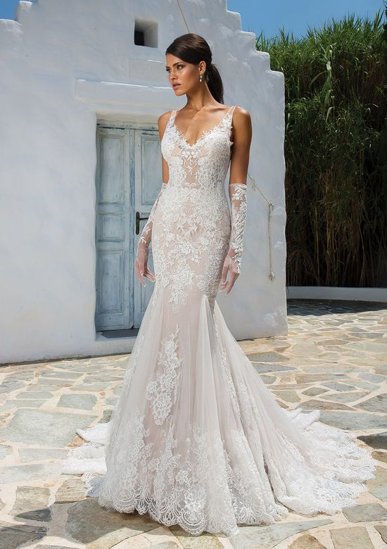 Fit and Flare Wedding Dress Lovely Style 8961 Allover Lace Fit and Flare Gown with Illusion