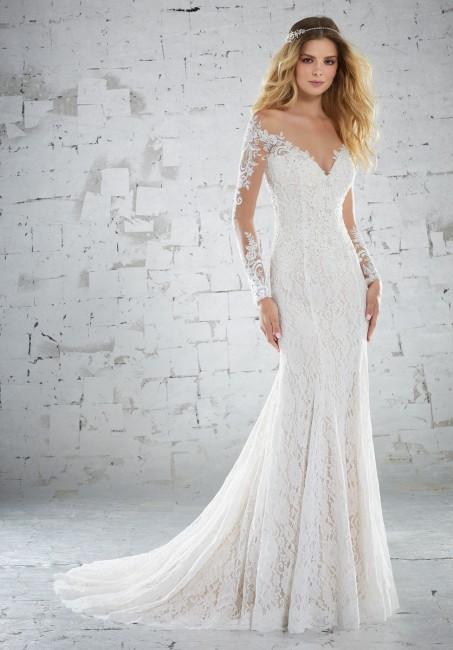 Fit and Flare Wedding Dress with Sleeves New Mori Lee Karolina Style 6888 Dress Madamebridal