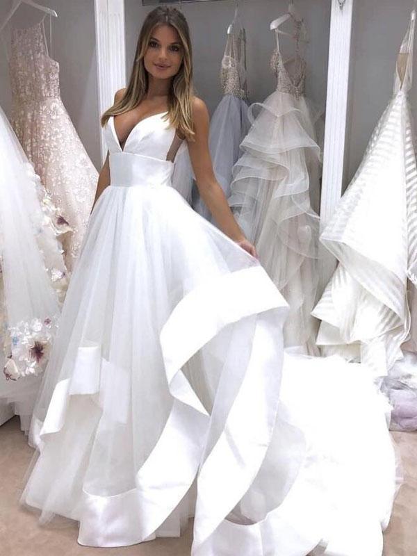 Simple A line Spaghetti Strap Cheap Beach Long Prom Wedding Dress 1200x1200