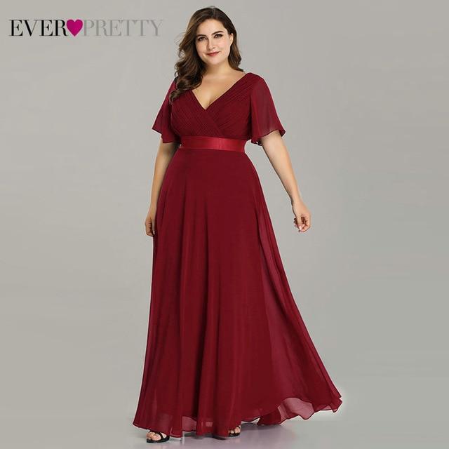 Plus Size Pink Prom Dresses Long Ever Pretty V Neck Chiffon A line Robe De Soiree 640x640