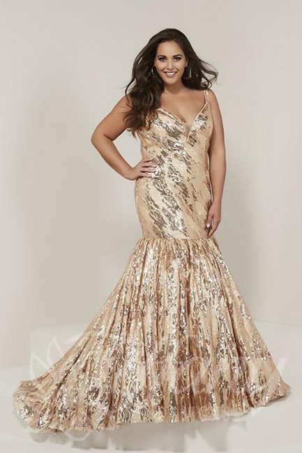 tiffany designs trumpet style sequin plus size formal dress 03 543